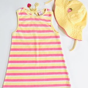 🍓Gymboree Terry Swim coverup & matching hat Sz 3